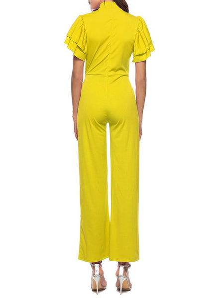 Chicloth Holiday Solid Stand Collar Frill Sleeve Jumpsuit-Chicloth