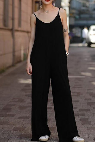 A| Chicloth Black Jumpsuit Shift Daytime Sleeveless Casual Solid Jumpsuit