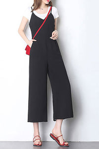 A| Chicloth Black Spaghetti Casual Solid Jumpsuit