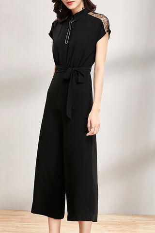 A| Chicloth Black Solid Bow Shirt Collar Short Sleeve Guipure lace Paneled Jumpsuit