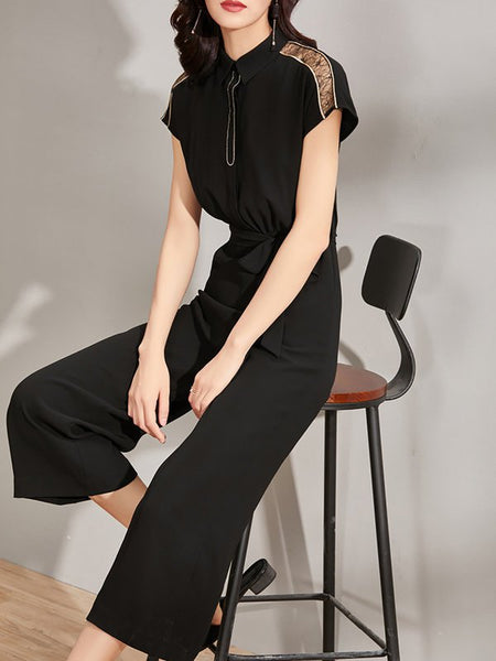 Chicloth Black Solid Bow Shirt Collar Short Sleeve Guipure lace Paneled Jumpsuit
