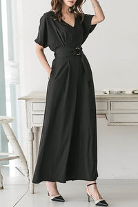 A| Chicloth Black Solid Cotton Casual Gathered Jumpsuit