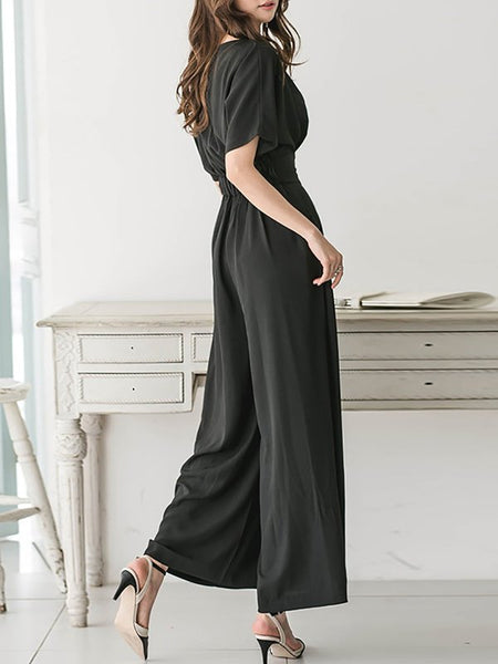 Chicloth Black Solid Cotton Casual Gathered Jumpsuit