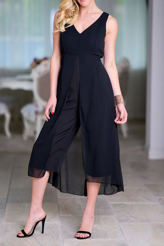 Chicloth Black Solid V neck Paneled Casual Sleeveless Jumpsuit