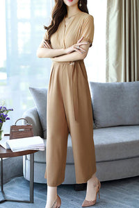 A| Chicloth Work Solid V neck Elegant High Waisted Jumpsuit