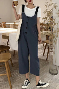 Chicloth Gray Spaghetti Casual Buttoned Overall