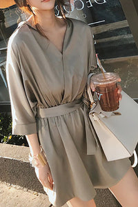 A| Chicloth V neck Solid Casual Bow Summer Romper