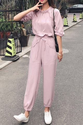 Chicloth Stand Collar 3/4 Sleeve Casual Pockets Gathered Jumpsuit