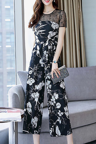 Chicloth Elegant Paneled Short Sleeve Knot Front Jumpsuit