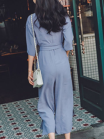 2ff77f707d57 Chicloth Blue Lapel Buttoned Solid Bow Jumpsuit-Chicloth