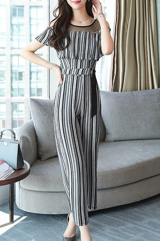 A| Chicloth Elegant Crew Neck Printed Cold Shoulder Striped Jumpsuit-Chicloth