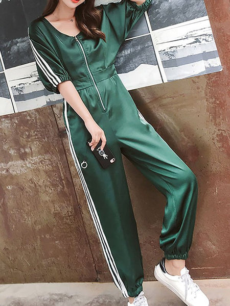 Chicloth Casual Half Sleeve Zipper V neck Jumpsuit