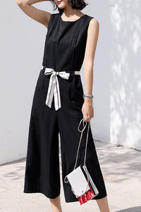 A| Chicloth Sleeveless Solid Bow Holiday Summer Jumpsuit