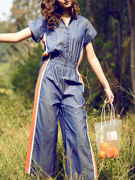 A| Chicloth Blue Paneled Casual Zipper V neck Jumpsuit