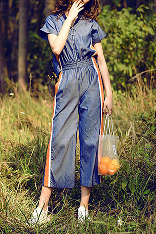 Chicloth Blue Paneled Casual Zipper V neck Jumpsuit