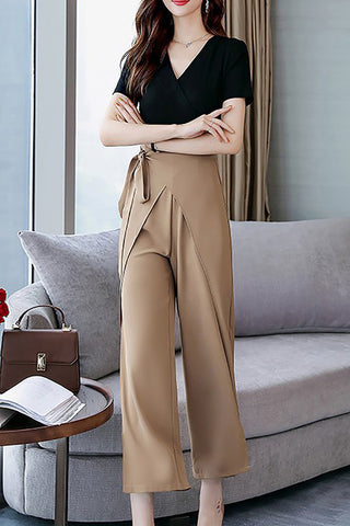 A| Chicloth Black Elegant Color-block Folds V neck Jumpsuit