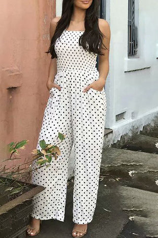 Chicloth Holiday Polka Dots Spaghetti Shirred Jumpsuit