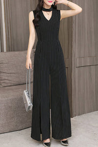 A| Chicloth Black Striped Elegant Slit Keyhole Cutout Printed Jumpsuit