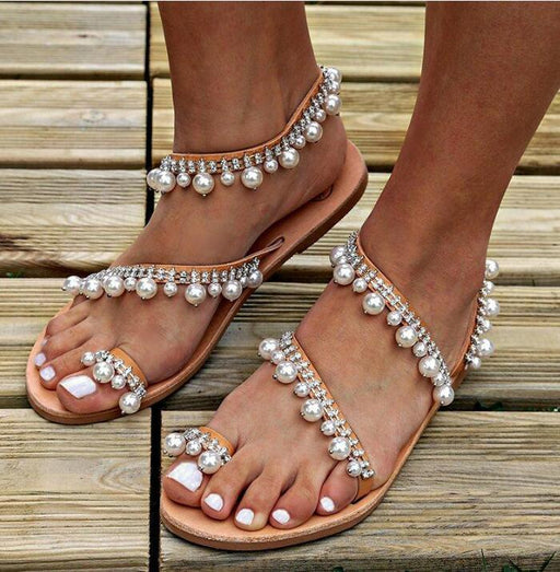 Chicloth Faux Pearls Beading Sandals-Sandals-Chicloth