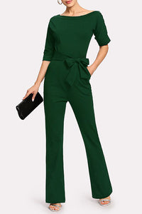 A| Chicloth Green Short Sleeve Solid Bateau/boat neck Belted Jumpsuit