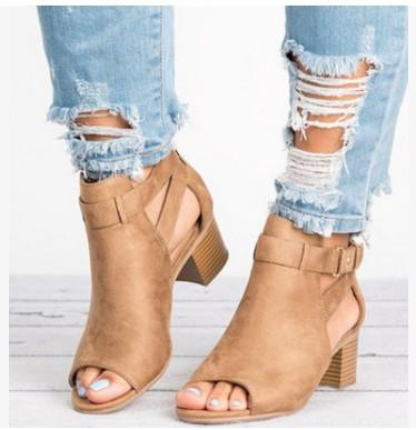 ad4508cd197 Chicloth Women Open Toe Cut Out Sandals Chunky Stacked Low Heel Ankle Strap  Booties-Sandals