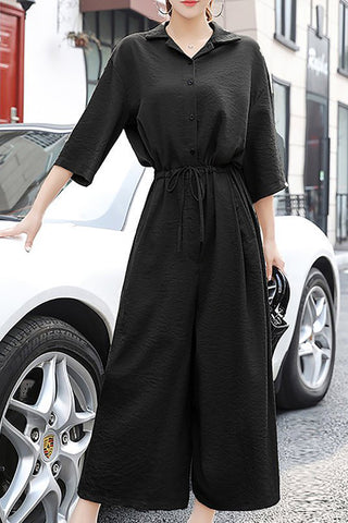 Chicloth Solid 3/4 Sleeve Drawstring Waistband Casual Jumpsuit