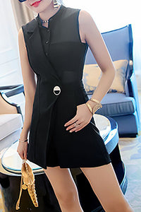 Chicloth Black See-through Look Sexy Paneled Romper