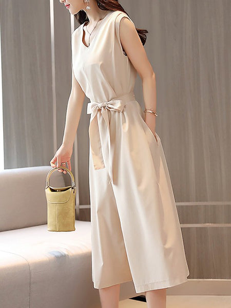 Chicloth Bow V neck Sleeveless Elegant A-line Solid Jumpsuit