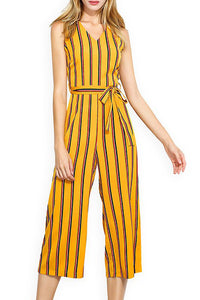 A| Chicloth Yellow V neck Striped Casual Printed Jumpsuit