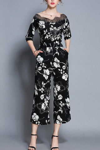 Chicloth Black Floral Elegant Printed Lace Jumpsuit