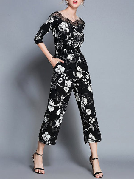 A| Chicloth Black Floral Elegant Printed Lace Jumpsuit