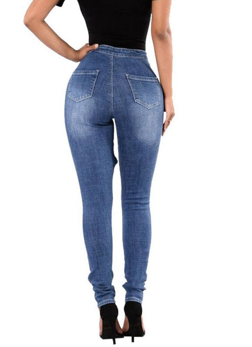 Chicloth Bodycon Zipper Pockets Ripped Hole Women¡®s Denim Jeans-Jeans-Chicloth
