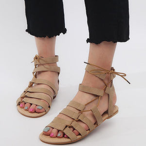 Chicloth New Sexy Female Sandal Thin Flat Bottom Bandage Cross Sandals
