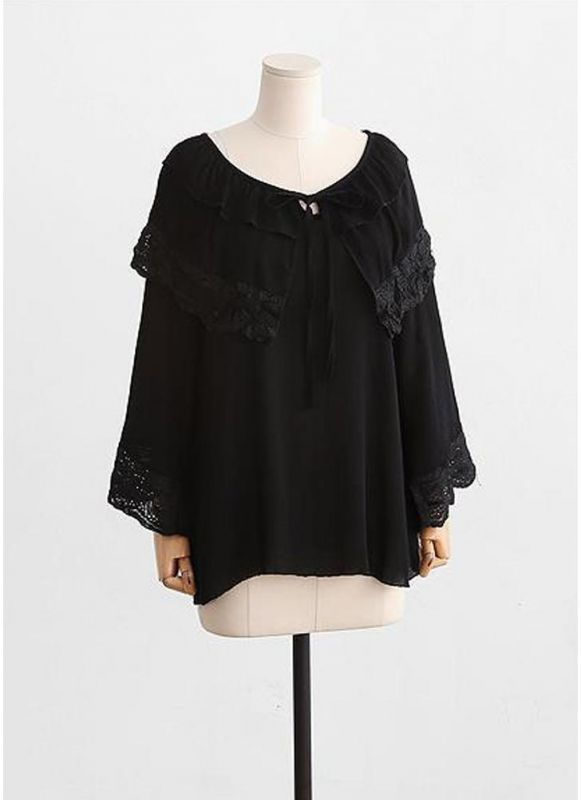 ccf49d84d7af3 Chicloth Women Plus Size Top Scalloped Lace Ruffles Tied Front Flared Bell  Sleeves Blouse-Plus