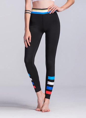 Women Sport Leggings Colorful Contrast Stripes Print High Waist Skinny Running Yoga Pants