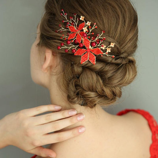 Chicloth Bridal Accessories Handmade Hairpin Red Flower Accessories Headpieces-Headpieces-Chicloth