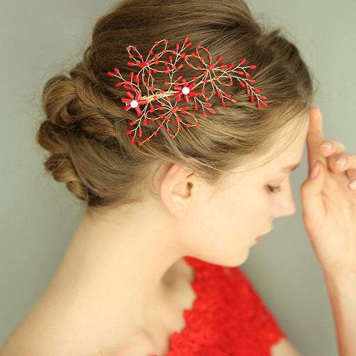 Chicloth Bride Adorn Article Hairpin Red Accessories Headpieces-Headpieces-Chicloth