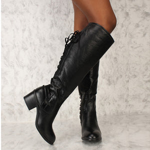 02de9ad038d B Chicloth Weave Thick Heels High Heels Boots Products