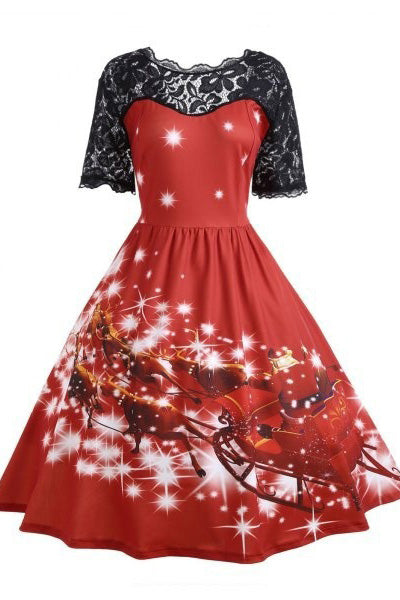 A| Chicloth Plus Size Lace Panel Father Christmas Midi Party Dress Christmas Dresses