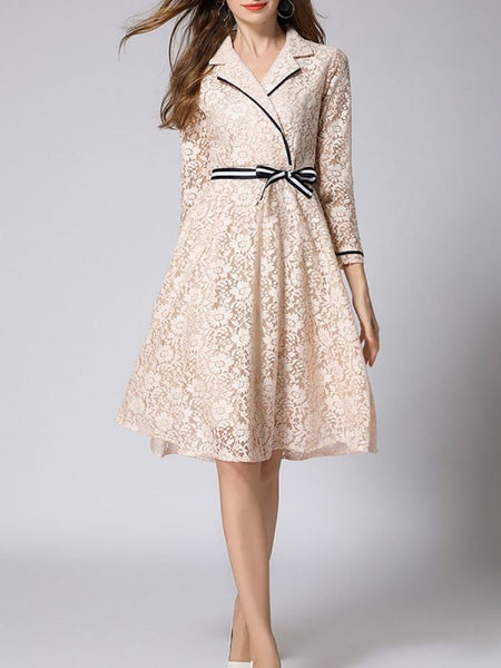 Beige Work Folds Wrap A-line Lapel Guipure lace Midi Dress Lace Dresses-Lace Dresses-Chicloth