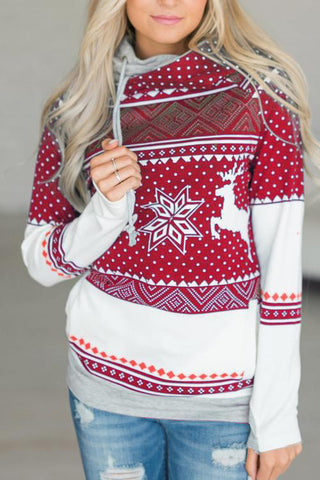 A| Chicloth Hot Sale Printed Loose Versatile Christmas Hoodies