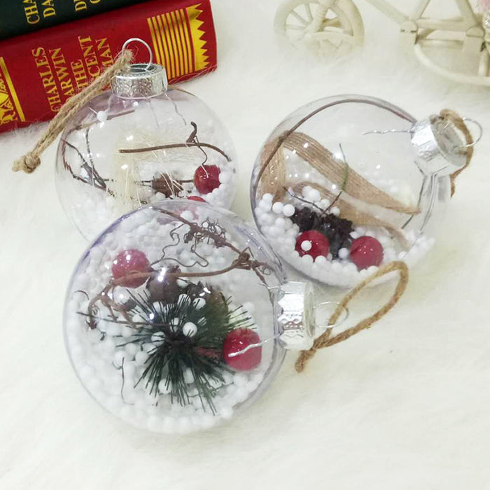 C| Chicloth Christmas Tree Pendant Transparent Plastic Christmas Balls (5 Pics)-Christmas Accessories-Chicloth