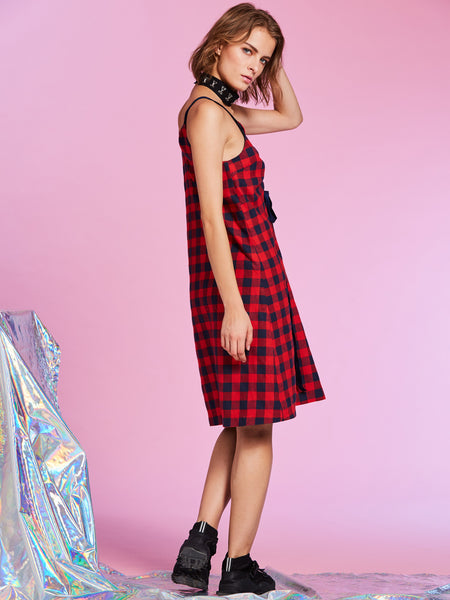 Chicloth Color Block Plaid Backless Women's A-Line Dress