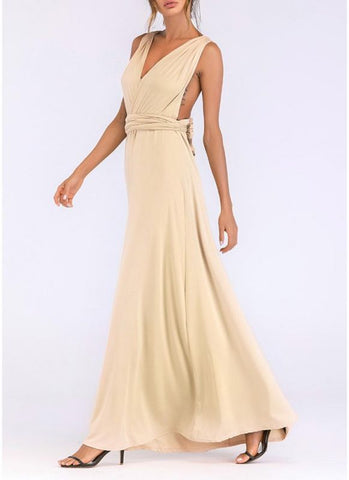 B| Chicloth size Solid Stretchy Convertible Multi Way Cross Strap Bridesmaid Maxi Dress