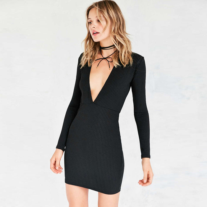 Chicloth Plunging V-neck Long Sleeve Dress-Chicloth