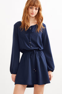 Chicloth Dark Blue Long Sleeve Dress - Chicloth