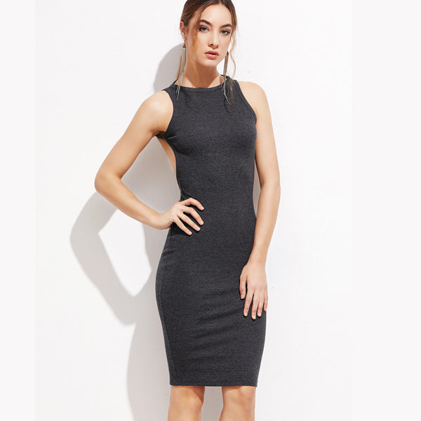 Chicloth Backless Gray Bodycon Dress