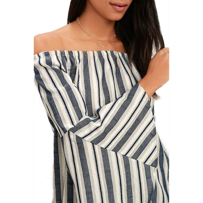 Chicloth Off The Shoulder Black and White Striped Dress-Chicloth