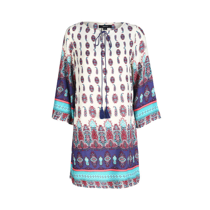 Chicloth Loose style Printed Shift Dress-Chicloth