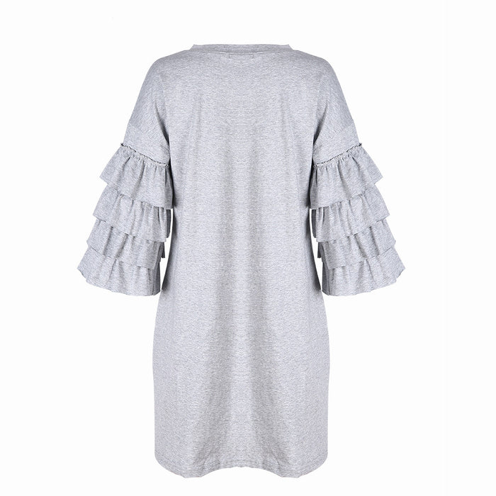 Chicloth Ruffle Sleeve Loose T-shirt Dress-Chicloth